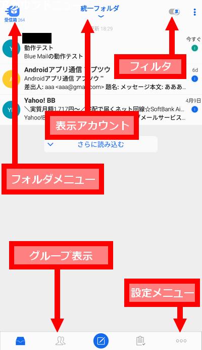 Blue Mailメイン画面
