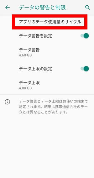Android データ警告と制限
