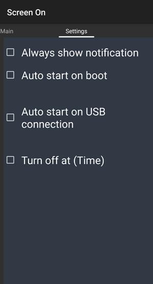 Screen ON Settings