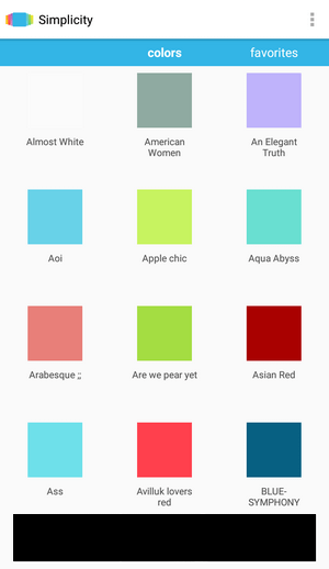 Simplicity 色選択画面